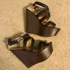 Just Fab wooden platform wedges